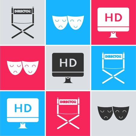 Set Director movie chair , Comedy and tragedy theatrical masks  and Computer PC monitor with HD video technology  icon. Vector Ilustração