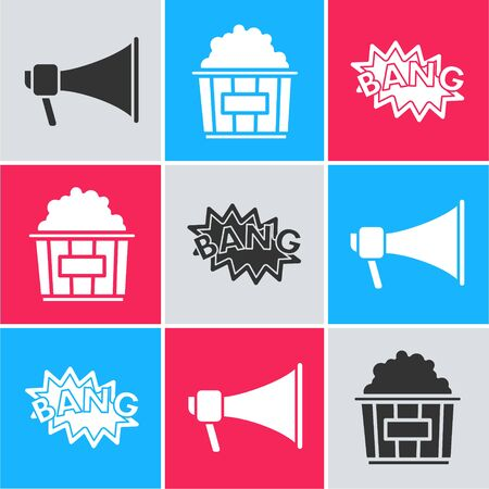 Set Megaphone , Popcorn in cardboard box  and Bang boom text speech bubble balloon  icon. Vector