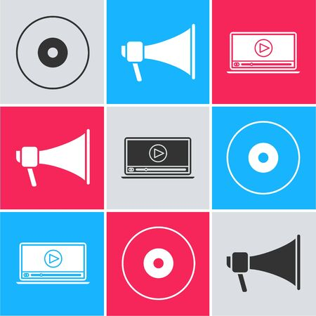 Set CD or DVD disk , Megaphone and Online play video icon. Vector
