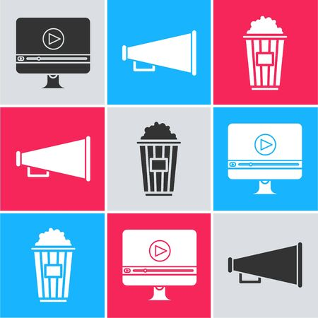 Set Online play video , Megaphone and Popcorn in cardboard box icon. Vector