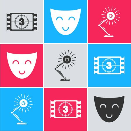 Set Play Video , Comedy theatrical mask and Table lamp icon. Vector