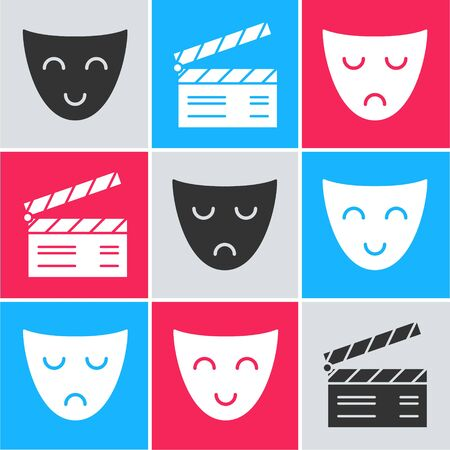 Set Comedy theatrical mask , Movie clapper and Drama theatrical mask icon. Vector Ilustração