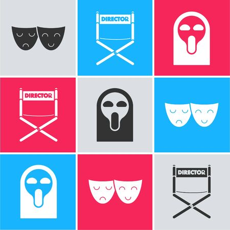 Set Comedy and tragedy theatrical masks , Director movie chair and Funny and scary ghost mask icon. Vector Ilustração