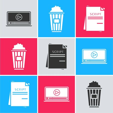 Set Online play video , Popcorn in cardboard box and Scenario icon. Vector