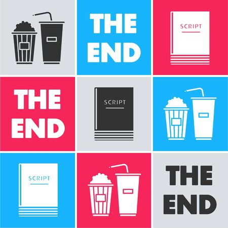 Set Popcorn and soda drink glass, The End handwritten inscription and Scenario icon. Vector Çizim