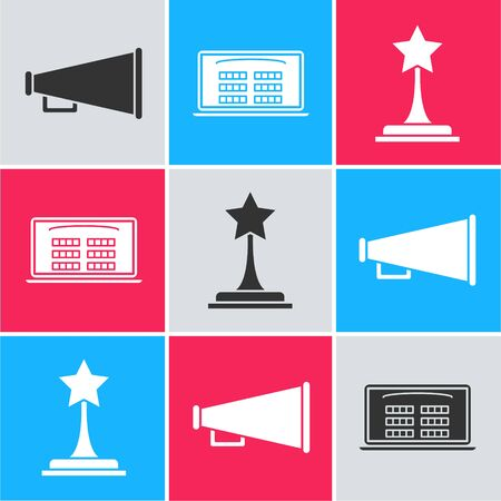 Set Megaphone , Buy cinema ticket online and Movie trophy icon. Vector
