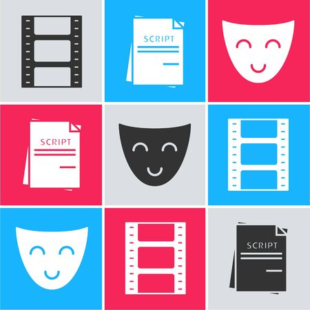 Set Play Video , Scenario and Comedy theatrical mask icon. Vector
