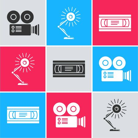 Set Cinema camera , Table lamp and VHS video cassette tape icon. Vector