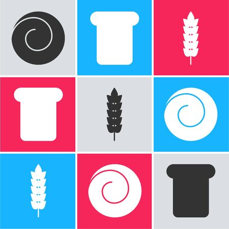 Set Roll bun with cinnamon , Bread toast and Cereals with rice, wheat, corn, oats, rye icon. Vector Ilustração