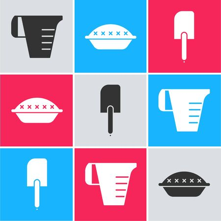 Set Measuring cup, Homemade pie and Spatula icon. Vector 일러스트