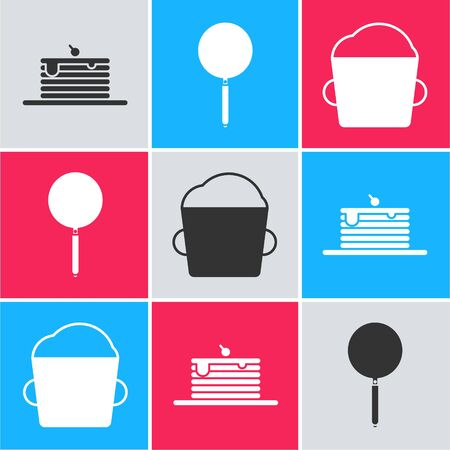 Set Stack of pancakes , Frying pan and Bakery bowl dough icon. Vector