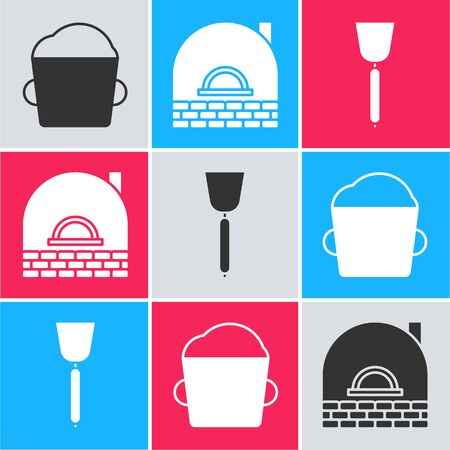 Set Bakery bowl dough , Brick stove and Spatula icon. Vector