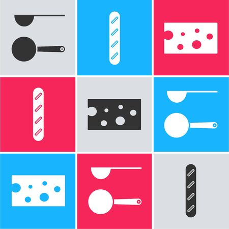 Set Measuring spoon , French baguette bread and Cheese icon. Vector