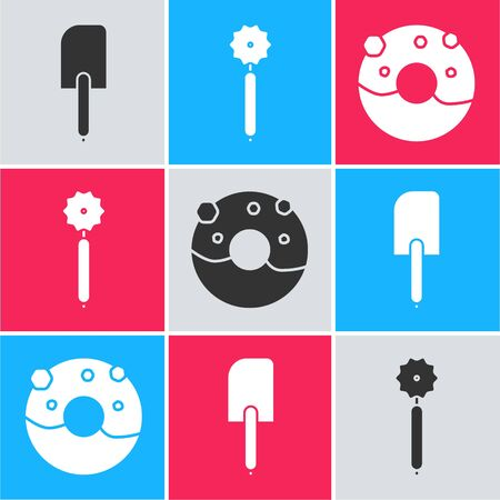 Set Spatula , Pizza knife and Donut with sweet glaze icon. Vector