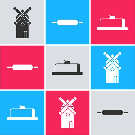 Set Windmill , Rolling pin and Strawberry cheesecake slice icon. Vector
