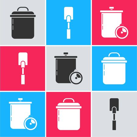 Set Cooking pot , Spatula and Cooking pot and kitchen timer icon. Vector