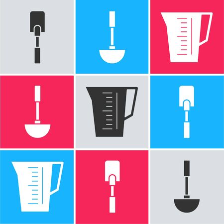Set Spatula , Kitchen ladle  and Measuring cup icon. Vector