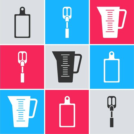 Set Cutting board , Spatula  and Measuring cup icon. Vector