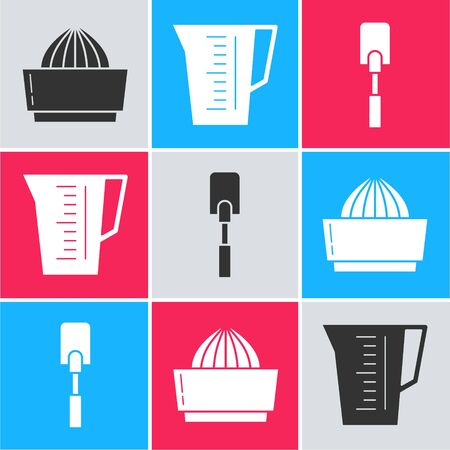 Set Citrus fruit juicer , Measuring cup and Spatula  icon. Vector 일러스트