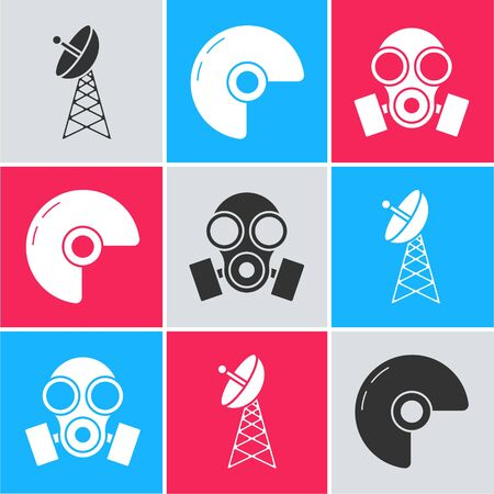 Set Radar , Military helmet  and Gas mask  icon. Vector