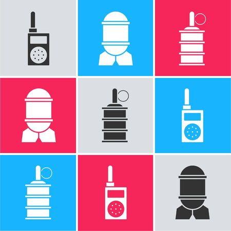 Set Walkie talkie , Aviation bomb  and Hand grenade  icon. Vector
