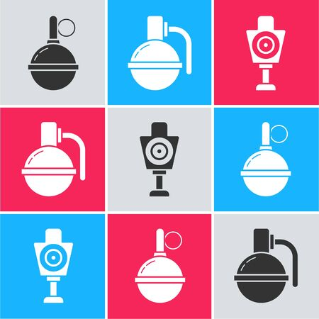 Set Hand grenade , Hand grenade  and Human target sport for shooting  icon. Vector