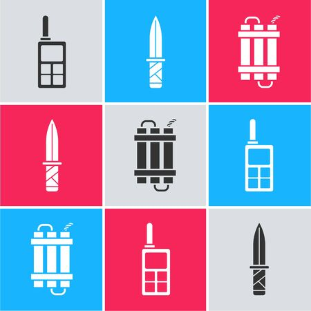 Set Walkie talkie , Military knife  and Detonate dynamite bomb stick icon. Vector