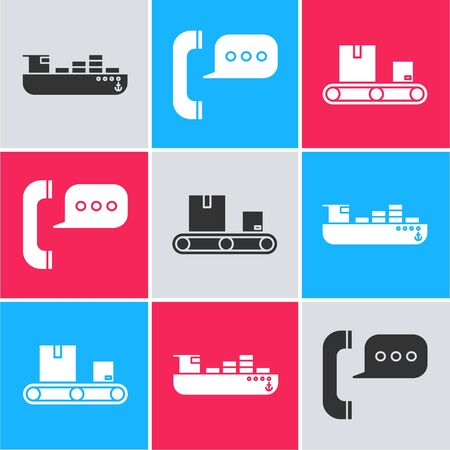 Set Cargo ship with boxes delivery service , Telephone with speech bubble chat  and Conveyor belt with cardboard box  icon. Vector Standard-Bild - 140498255