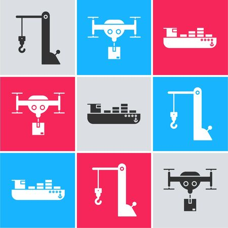 Set Harbor port crane, Delivery drone with the package and Cargo ship with boxes delivery service icon. Vector Illustration