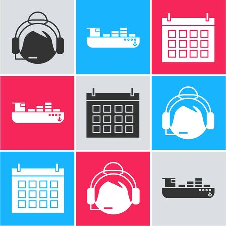 Set Support operator in touch, Cargo ship with boxes delivery service and Calendar icon. Vector