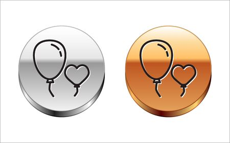 Black line Balloons in form of heart with ribbon icon isolated on white background. Silver-gold circle button. Vector Illustration