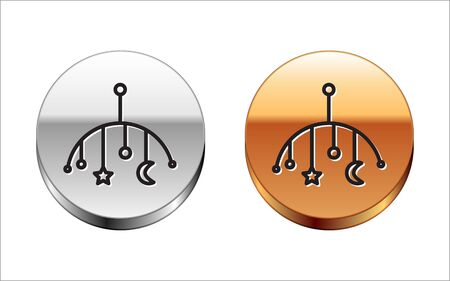 Black line Baby crib hanging toys icon isolated on white background. Baby bed carousel. Silver-gold circle button. Vector Illustration Çizim