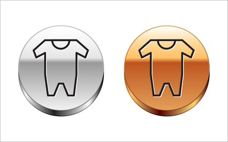 Black line Baby clothes icon isolated on white background. Baby clothing for baby girl and boy. Baby bodysuit. Silver-gold circle button. Vector Illustration