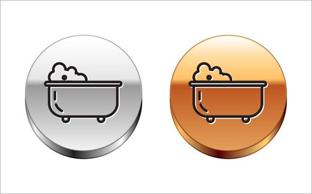 Black line Baby bathtub with foam bubbles inside icon isolated on white background. Silver-gold circle button. Vector Illustration
