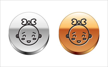Black line Happy little girl head icon isolated on white background. Face of baby girl. Silver-gold circle button. Vector Illustration