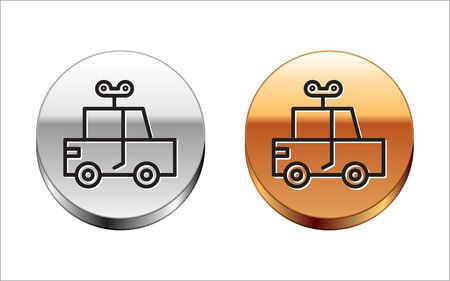 Black line Toy car icon isolated on white background. Silver-gold circle button. Vector Illustration
