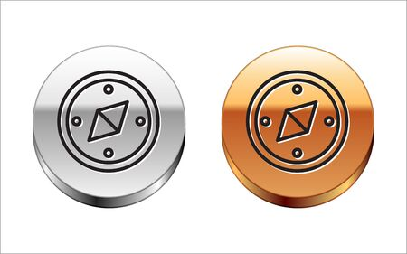Black line Compass icon isolated on white background. Windrose navigation symbol. Wind rose sign. Silver-gold circle button. Vector Illustration