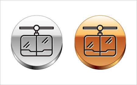 Black line Cable car icon isolated on white background. Funicular sign. Silver-gold circle button. Vector Illustration