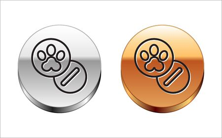 Black line Dog and pills icon isolated on white background. Prescription medicine for animal. Silver-gold circle button. Vector Illustration