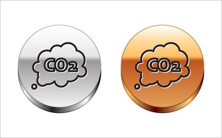 Black line CO2 emissions in cloud icon isolated on white background. Carbon dioxide formula symbol, smog pollution concept, environment concept. Silver-gold circle button. Vector Illustration