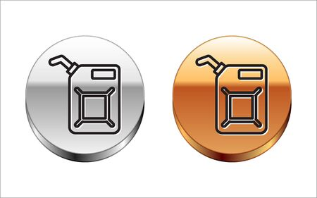 Black line Canister for gasoline icon isolated on white background. Diesel gas icon. Silver-gold circle button. Vector Illustration