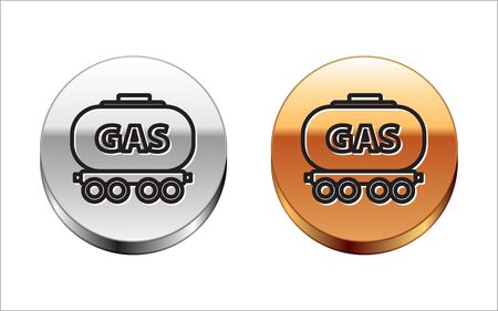 Black line Gas railway cistern icon isolated on white background. Train gasoline tank on railway car. Rail freight. Silver-gold circle button. Vector Illustration
