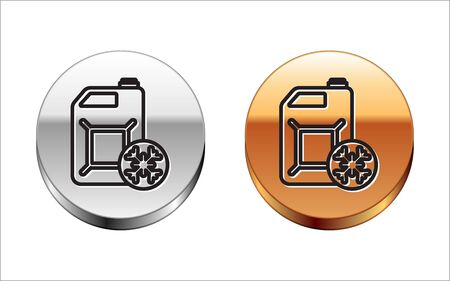 Black line Antifreeze canister icon isolated on white background. Auto service. Car repair. Silver-gold circle button. Vector Illustration Vector Illustration