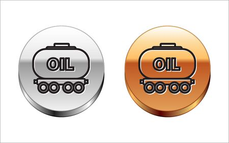 Black line Oil railway cistern icon isolated on white background. Train oil tank on railway car. Rail freight. Oil industry. Silver-gold circle button. Vector Illustration Stock Illustratie