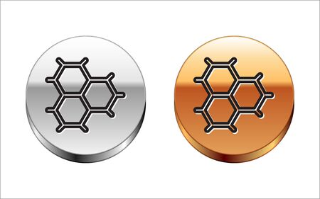 Black line Chemical formula consisting of benzene rings icon isolated on white background. Silver-gold circle button. Vector Illustration