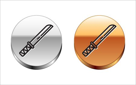 Black line Traditional Japanese katana icon isolated on white background. Japanese sword. Silver-gold circle button. Vector Illustration Illustration