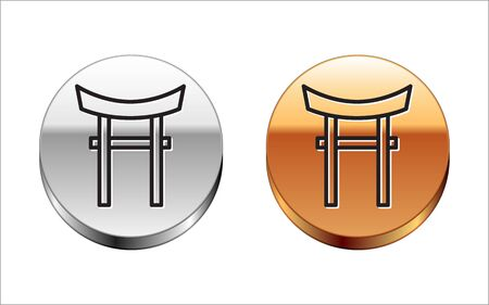 Black line Japan Gate icon isolated on white background. Torii gate sign. Japanese traditional classic gate symbol. Silver-gold circle button. Vector Illustration