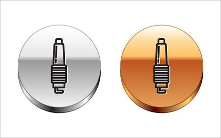 Black line Car spark plug icon isolated on white background. Car electric candle. Silver-gold circle button. Vector Illustration