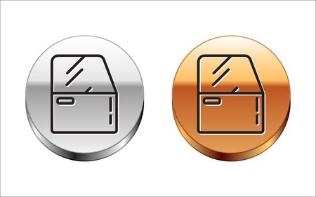 Black line Car door icon isolated on white background. Silver-gold circle button. Vector Illustration Vettoriali