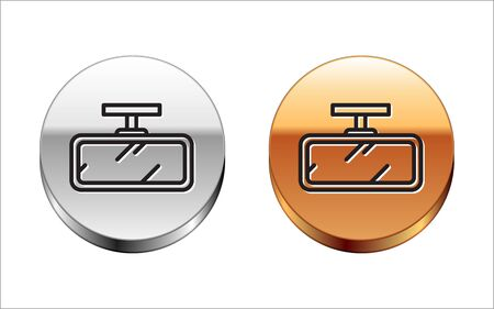 Black line Car mirror icon isolated on white background. Silver-gold circle button. Vector Illustration